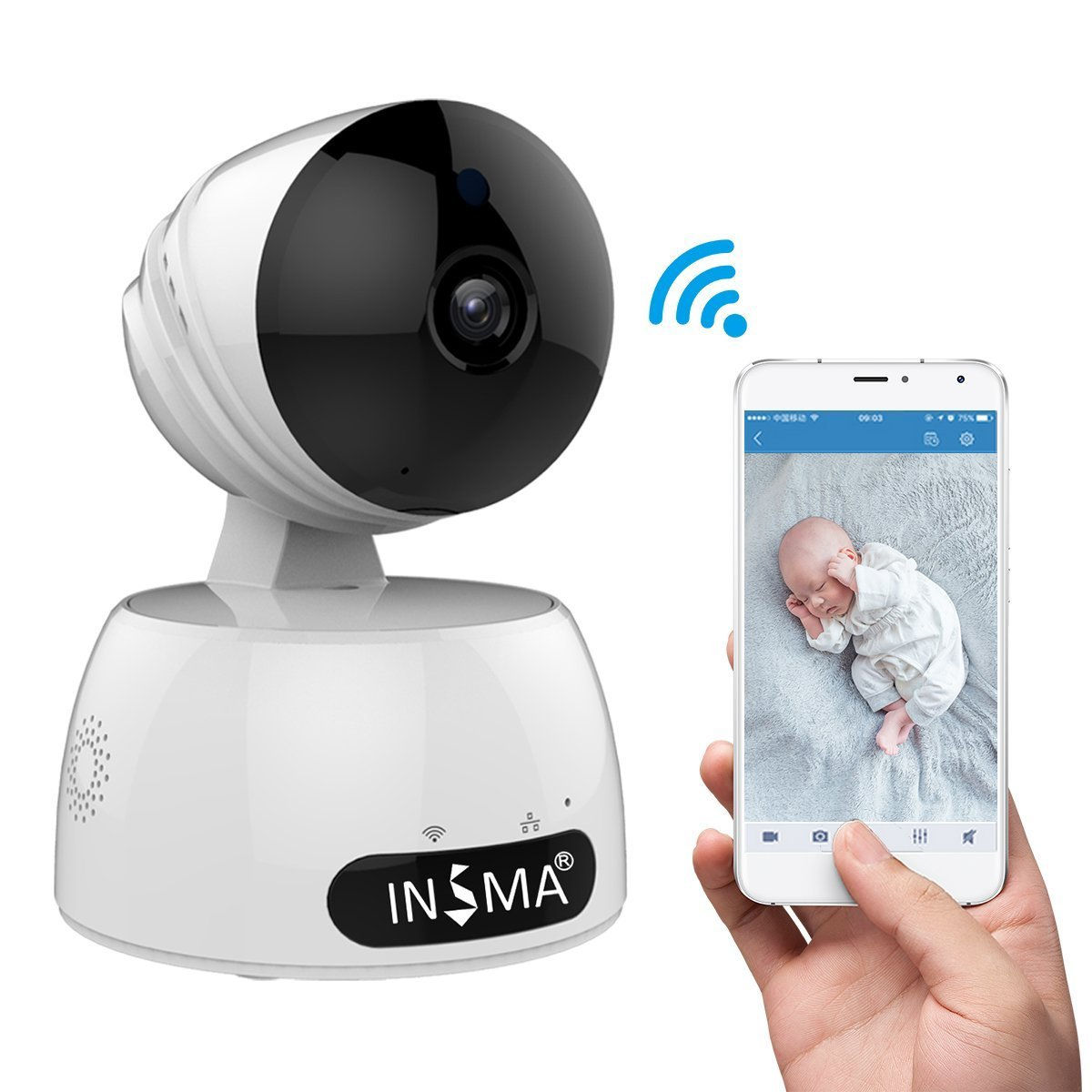INSMA 1080P/HD Camera Best Mother's Days Gift, Wireless IP Camera with 2 Way Audio Motion Detect, Night Vision, Smart APP for for Pet Baby Monitor, Home Security Camera Motion Detection Indoor Camera