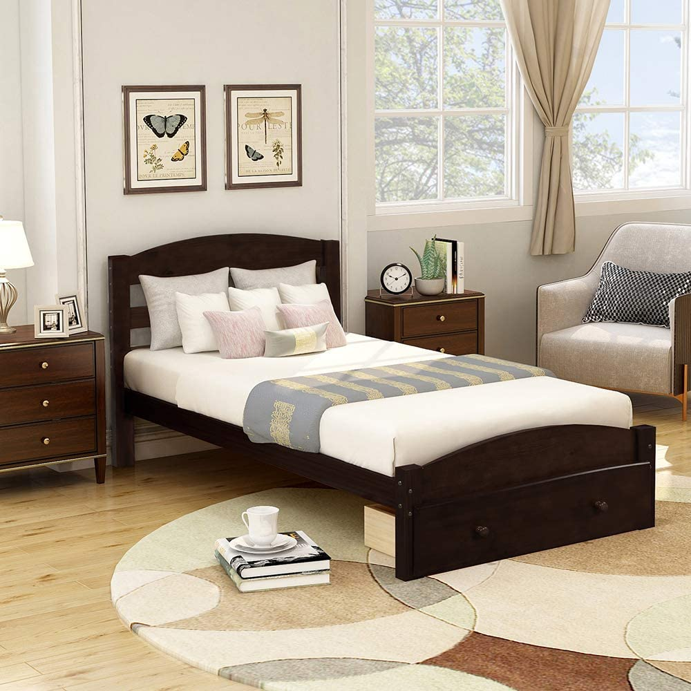romatpretty Wood Platform Bed Frame