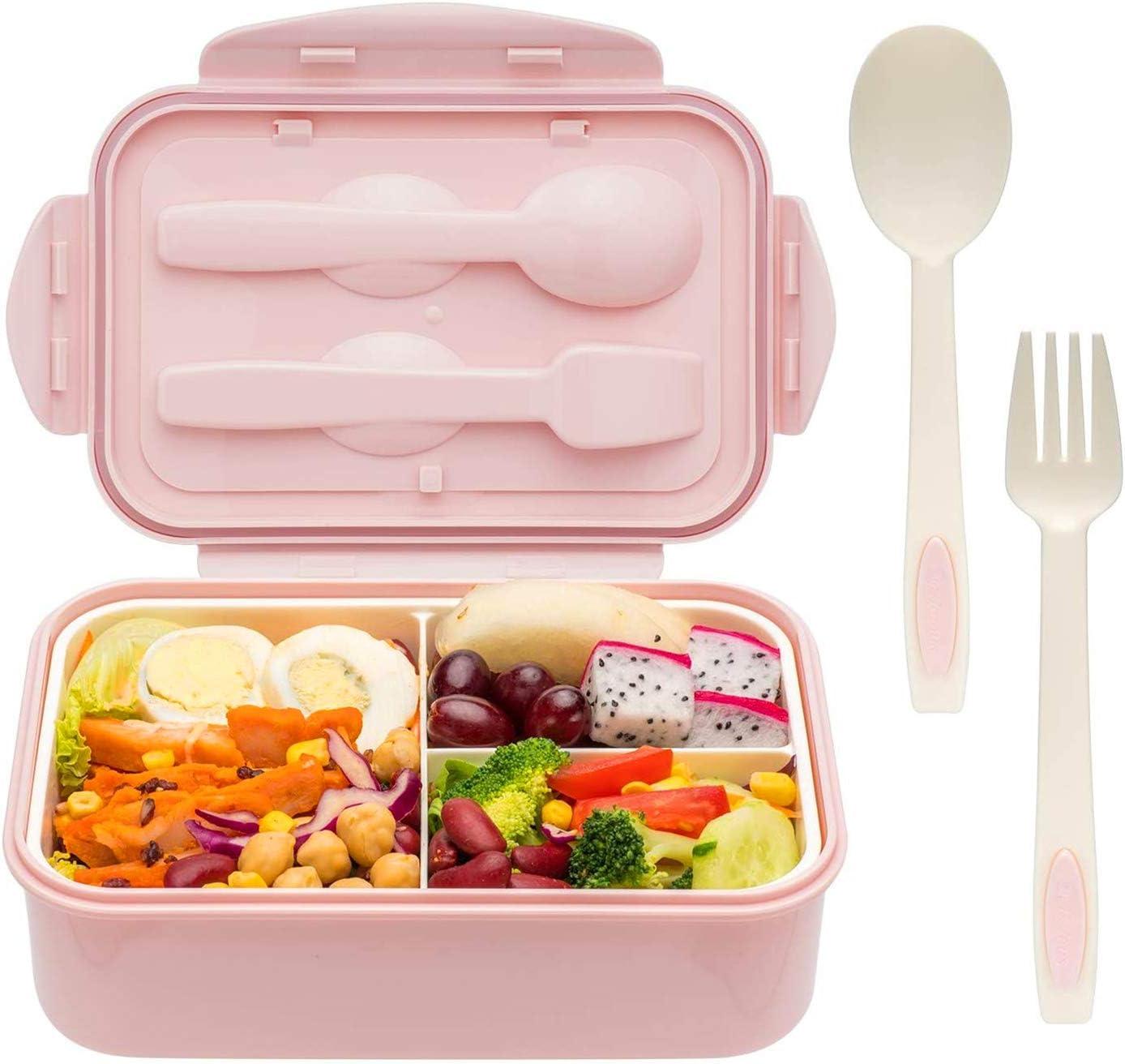 TTBAODAN Fiambrera Bento de doble capa de calidad alimentaria, fiambrera con 3 compartimentos y cubiertos, gran capacidad y caja de almuerzo altamente sellada para un picnic al aire libre [rosa]
