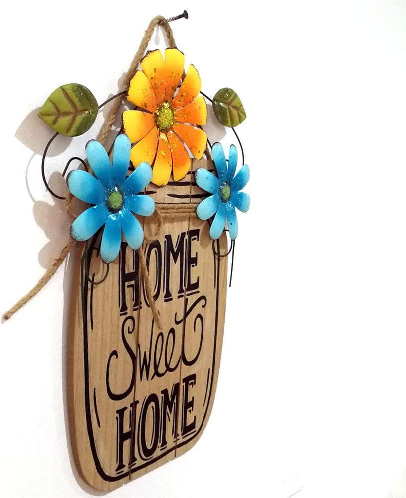 Targa di benvenuto fatta a mano con fiore in polvere brillante alla moda Yellow unica placca di benvenuto per la famiglia giardini LIDEBLUE porte alberi di Natale Blue per finestre 30*39cm