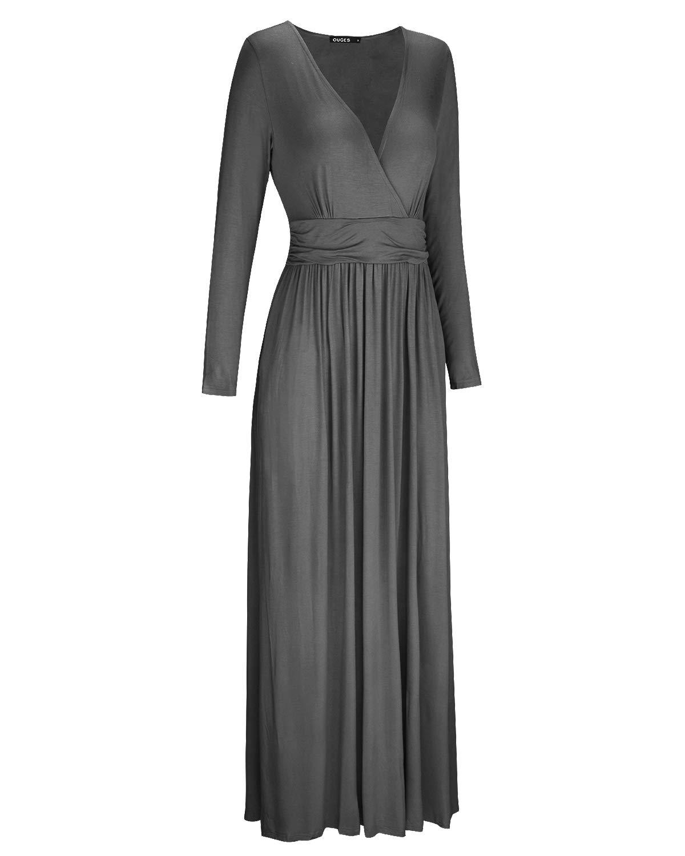 OUGES Womens Long Sleeve V-Neck Wrap Waist Maxi Dress