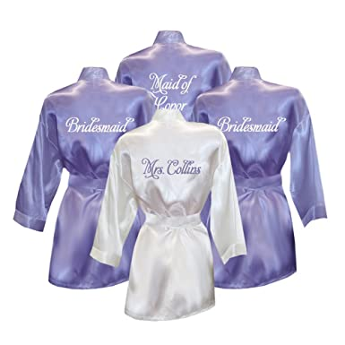 Set Of 4 Personalized Bridesmaid Satin Robes At Amazon Women S