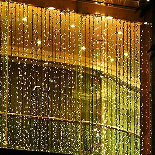 Lighting (Ambox LED Fairy String Lights, 300 LEDs Window Curtain Icicle Lights 8 Modes Ambiance lighting for Indoor/Outdoor Fairy Garden Home Wedding Holiday Christmas Party Decorations 3m x 3m (Warm)