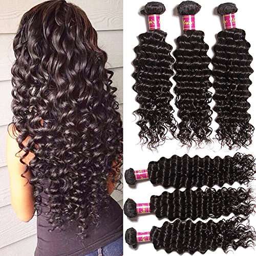 Unice Hair 4 Bundles Brazilian Virgin Hair Deep Wave Hair Extensions 6a Grade Unprocessed Human Hair Wave Natural Color Can Be Dyed and Bleached (22 24 26 26)