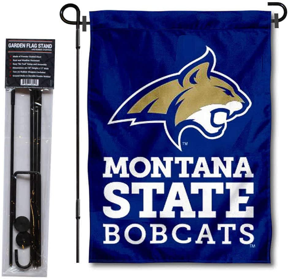College Flags & Banners Co. Montana State MSU Bobcats Garden Flag and Flag Stand Pole Holder Set