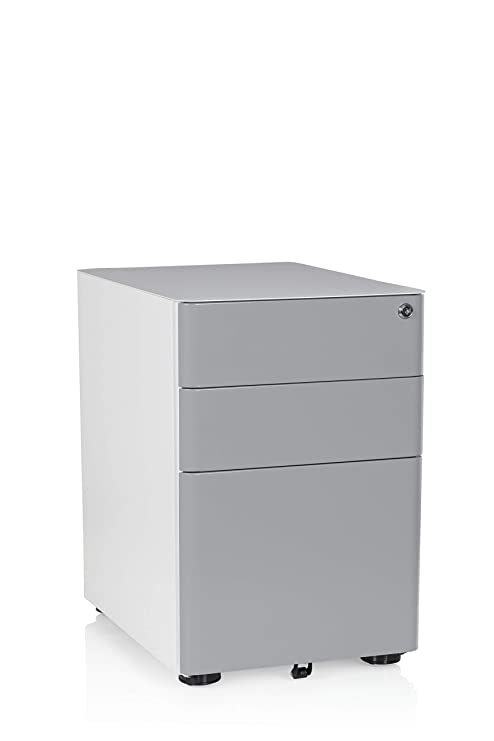 Hjh Office 743008 Rollcontainer Color Stahl Weißgrau Büro