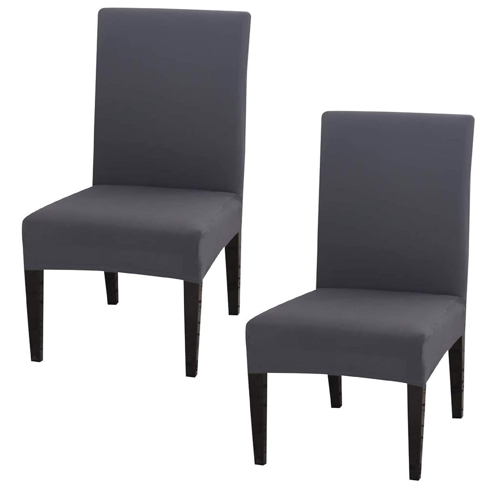 Inmozata Dining Chair Covers High Back Polyester Spandex Elastic Dining Chair Slipcovers Protector Kitchen Chair Seat Covers Washable Removable Grey Set Of 2 Buy Online In India At Desertcart In Productid 169371214