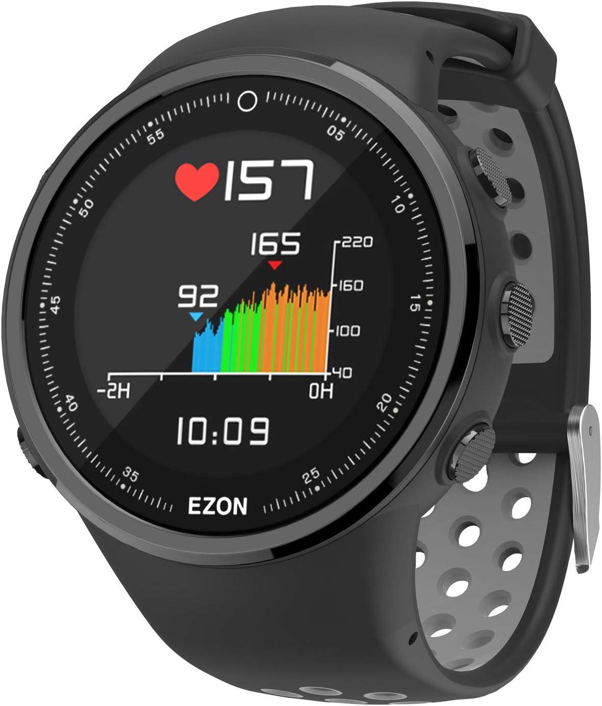 EZON Reloj para Correr con Monitor de Frecuencia Cardíaca GPS para Rastreador de Ejercicios