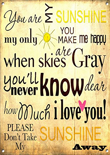 Amazoncom You Are My Sunshine Quotes Metal Signs Vintage