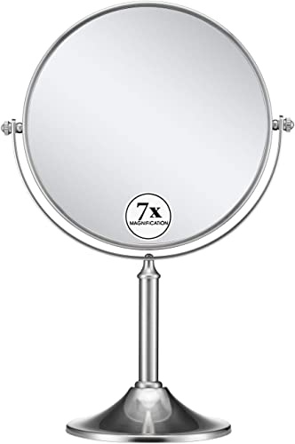 GloRiastar 7X Magnifying Makeup Mirror,8 Inch – 360 Degree Rotation Mirror,Brushed Stainless Steel