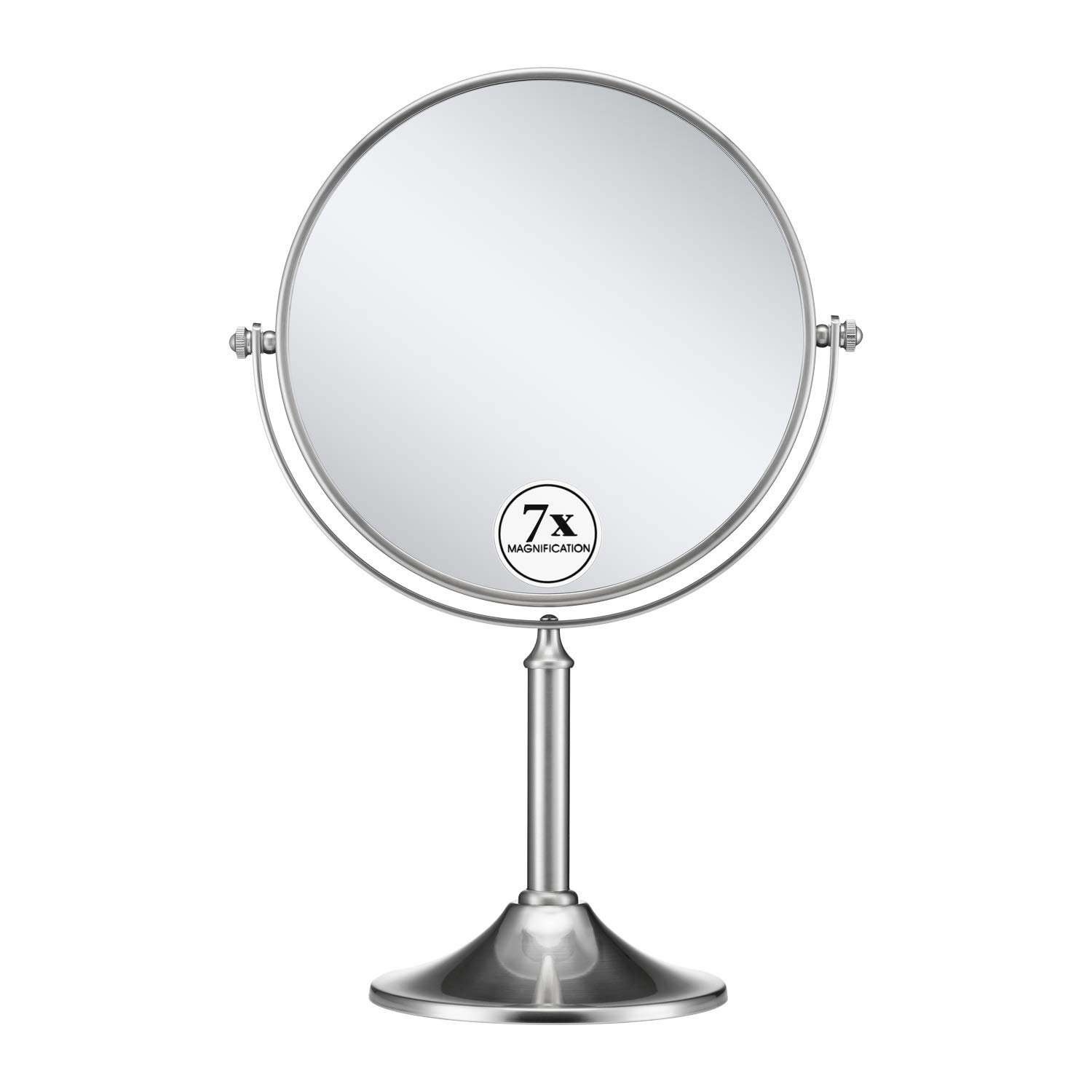 GloRiastar 7X Magnifying Makeup Mirror,8 Inch - 360 Degree Rotation Mirror,Brushed Stainless Steel