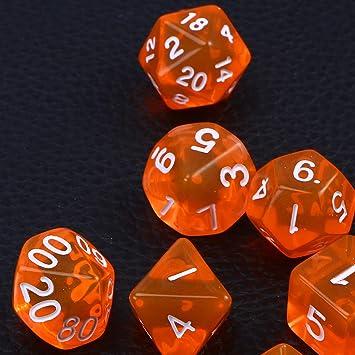 TOYANDONA Siete Dados multifuncionales,Medio Transparentes,un Juego de Dados en la Mesa,un Juego de Dragones.: Amazon.es: Juguetes y juegos