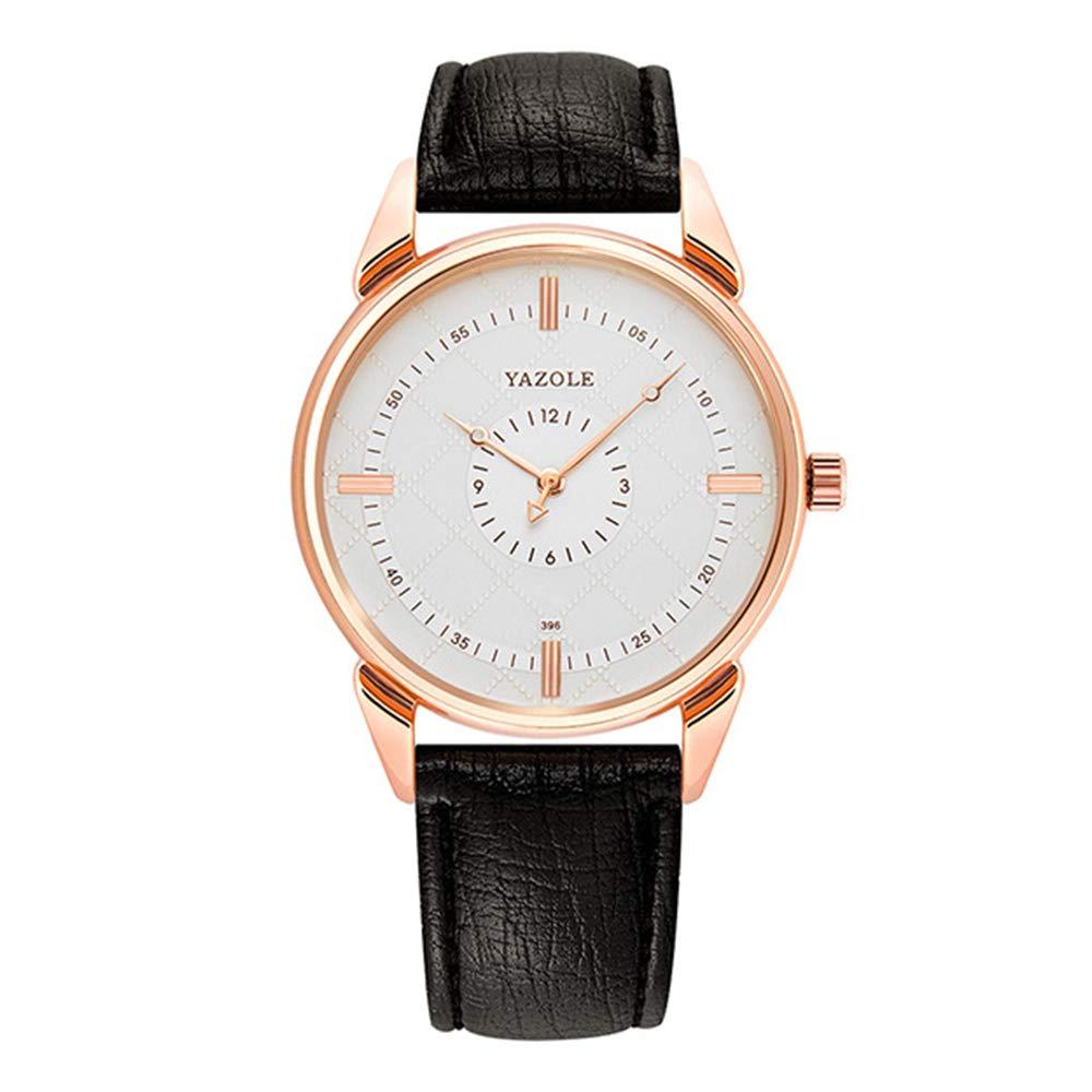 Relojes Pulsera Esfera a Cuadros con Doble Escala Cuarzo Relojes Hombre Correa de Cuero Elegante Caballeros