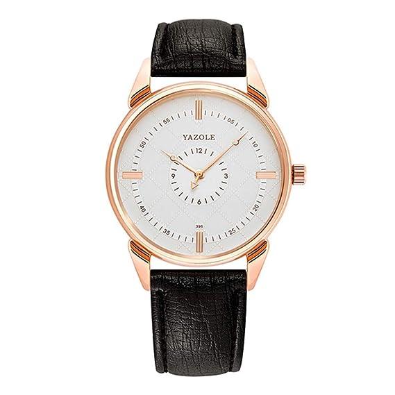 Relojes Pulsera Esfera a Cuadros con Doble Escala Cuarzo Relojes Hombre Correa de Cuero Elegante Caballeros, Negro-Blanco: Amazon.es: Relojes