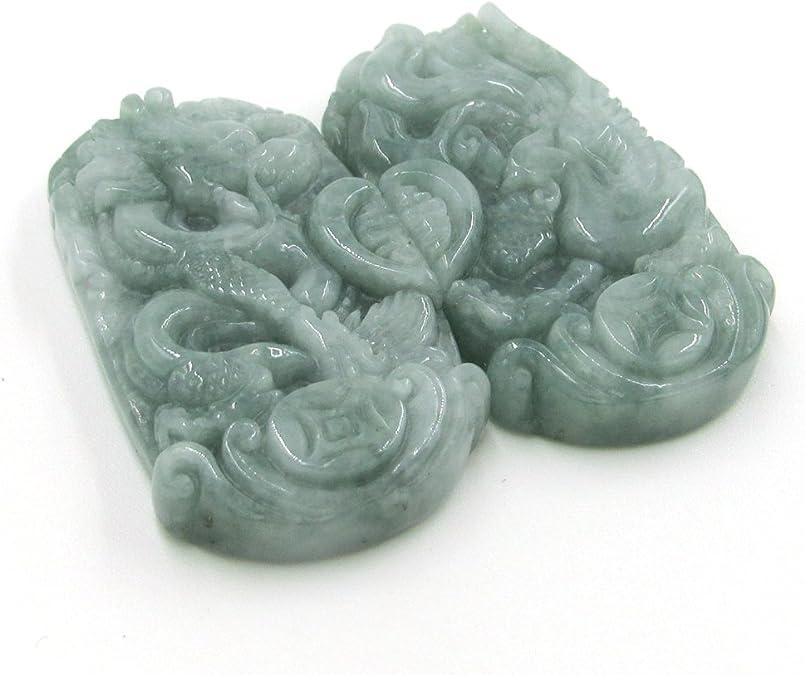 Pair Of Natural Jadeite Gem Lucky Dragon Phoenix Love Pendant Talisman 38mm*21mm  Cy113