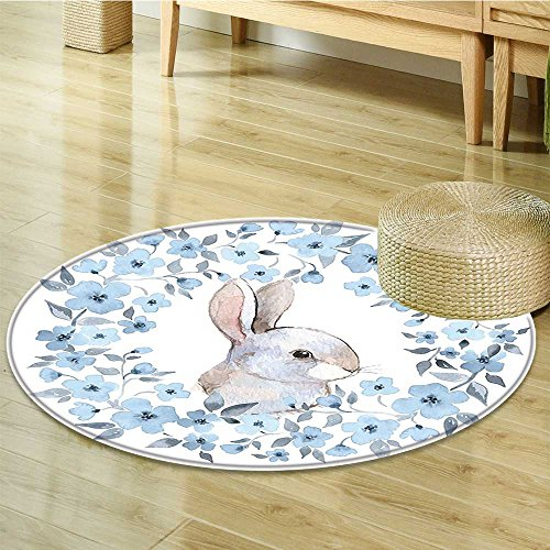 Rug Cocoa Flower (Small round rug Carpet Flower Bunny Rabbit Portrait in Wreath Style Blue White Cocoa door mat indoors Bathroom Mats Non Slip-Round 24