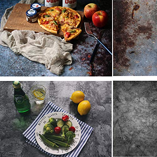 Evanto 22x35 Inch (56x88cm) 2-in-1 Dark Tone Photo Background Paper Concrete Cement Wall Texture Backdrop for Breakfast, Lunch, Dinner, Food Display and Video Recording