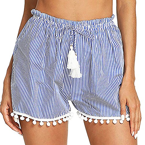 Women Striped Stretch Waist Pants Tassel Tie Hem Shorts Comfortable Pajamas Yoga Sports Running Trouser Beach Bottoms - Evisu Men Short