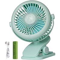 S'beauty Pram Fans, Portable Clip on Desk Fan 2200mAh Rechargeable Battery 360 Adjustable 3 Speeds Wind for Dormitory…