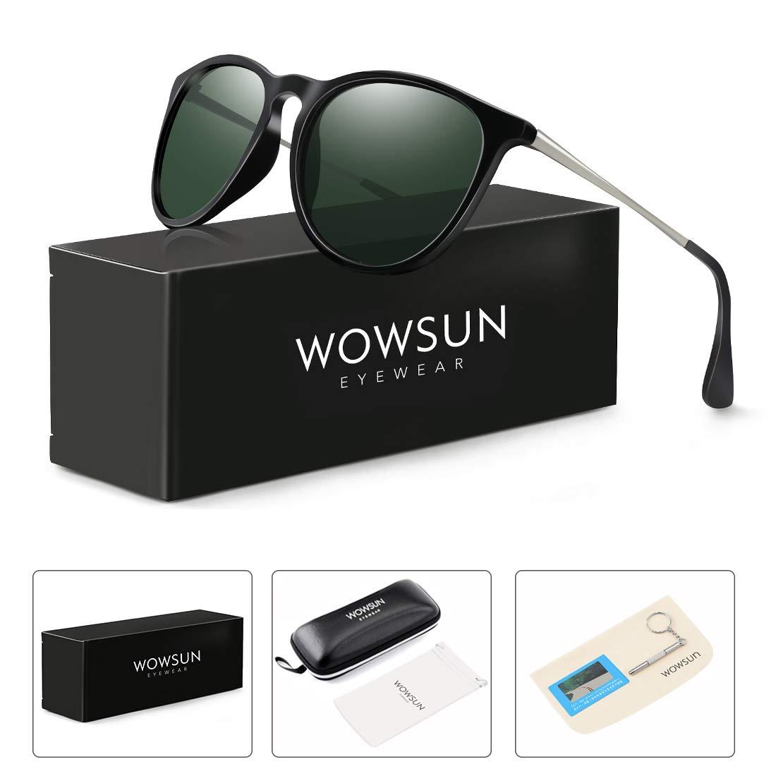 WOWSUN Polarized Sunglasses Women Vintage Retro Round Mirrored Lens Black Green