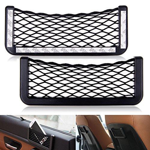TraderPlus Universal Auto Car Seat Side Back Pocket Storage Organizer Nylon Net Bag Phone Holder Black 5.9