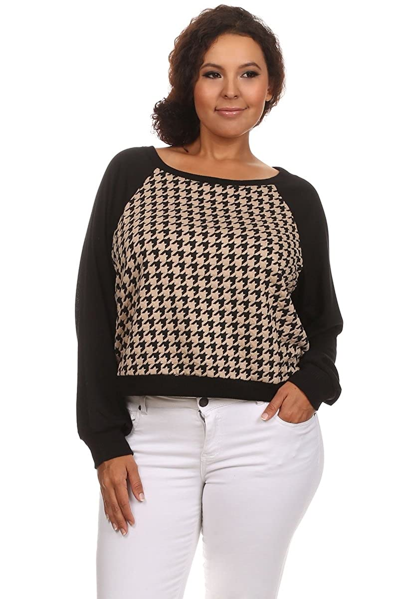 Ambiance Apparel Women's Long Sleeve Plus Size Checkered Blouse