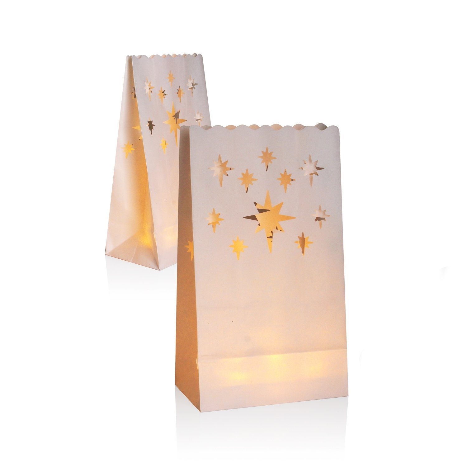 30 White Paper Lantern Luminary Bags- Perfect For Wedding, Reception, Party and Event Decor - Flame Resistant Paper (meteor)