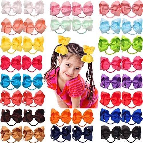 40Pcs 4.5 Inch Large Big Bows Hair Ties Ponytail Holder Elastic Hair Bands Boutique Pinwheel Hair Bows for Girls Toddlers Kids Teens Pairs