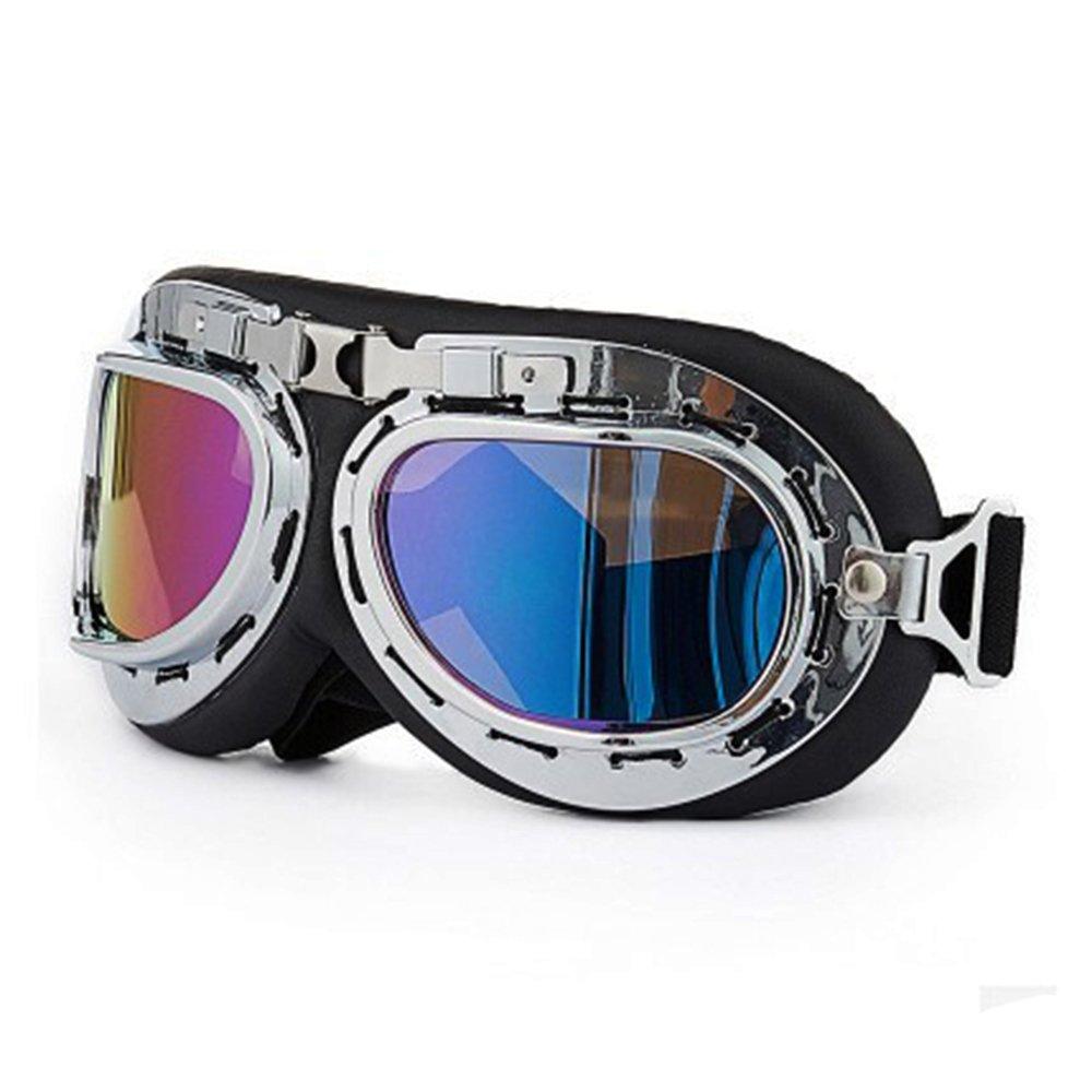 soccik cl/ásico gafas protectoras Aviator Vintage Pilot Biker Cruiser Pilot Aviador Motocross Cruisers Casco Gafas de para Harley Davidson Touring Plata