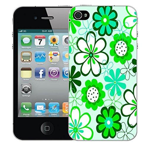 Mobile Case Mate iPhone 4 4s Concepteur Dur IMD coque Affaire Couverture Case Cover Pare-chocs Coquille - Green Daisy Modèle