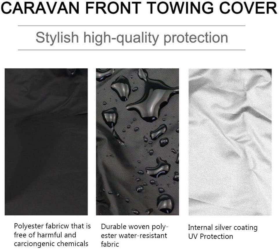 HUVE Dustproof And Waterproof Car Covers Caravan Front Towing Cover With LED Lights Buckle Guards Bag And Reflective Strips For Visibility,Waterproof All Weather Car Protector