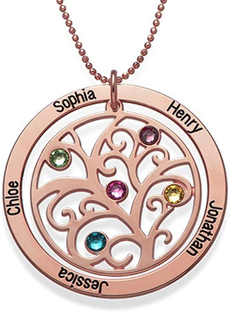 Griony Personalized Name Engraved Tree of Life Pendant Necklace Womens Necklace Gifts