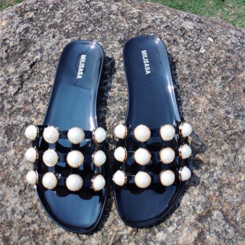 Vertvie Damen Mode Sommer Schuhe Strand Sandalen Indoor Outdoor Flache Flip-Flops Pantoffeln Strandschuhe mit Strass Schwarz