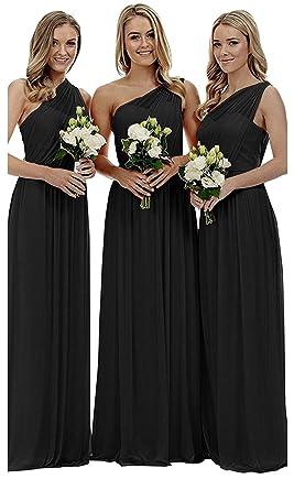 93be2965e80 liangjinsmkj Women's One Shoulder Bridesmaid Dresses Long Asymmetric Chiffon  Wedding Party Gowns Black US2