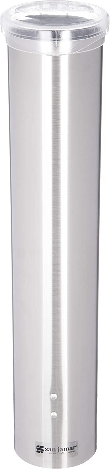 """San Jamar C4150SS Stainless Steel Small Water Cup Dispenser with Hinged Flip Cap, 16"""" Length"""
