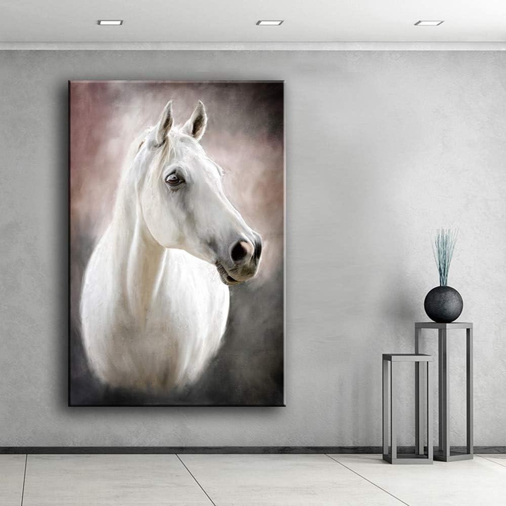 QWESFX Lienzo decorativo de pared Imágenes de arte Impresiones Pintura de pared de bellas artes Cuadro de caballo blanco para pintura de sala de estar (Imprimir sin marco) E 60x120CM