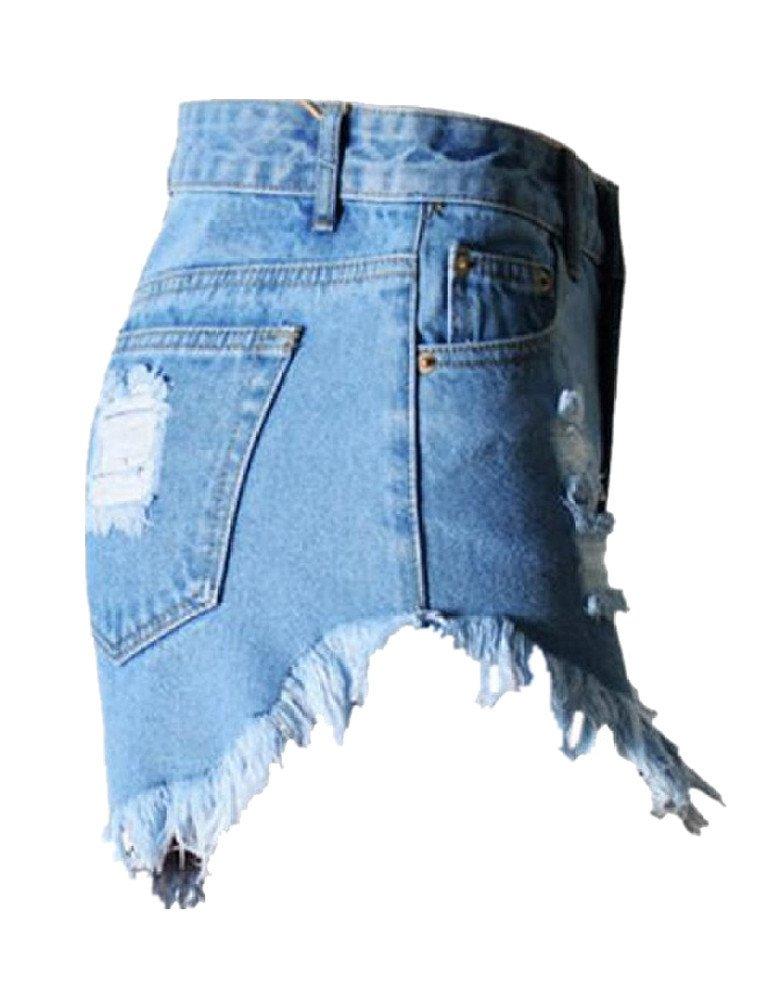 Haola Women's Juniors Denim High Waist Distressed Cutoff Shorts Blue L by Haola (Image #2)