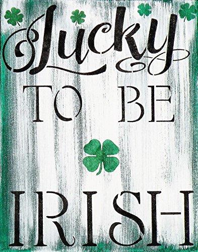 Hand Painted Lucky To Be Irish Rustic Sign, Handmade Irish Family Heritage Canvas Painting