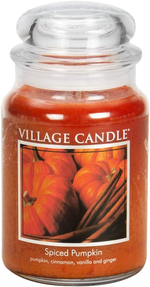 Village Candle Spiced Pumpkin 26 oz Glass Jar Scented Candle, Large
