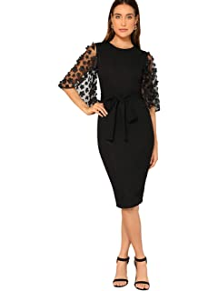 8556849a25 Naive Shine Women's Vintage Off Shoulder Floral Embroidery Bodycon ...