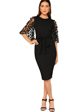 c9fee136069e SHEIN Women's Elegant Floral Mesh Bell Sleeve Tie Waist Bodycon Pencil Dress  at Amazon Women's Clothing store: