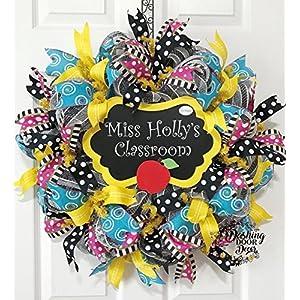 TEACHER Classroom Deco Mesh Wreath BACK to SCHOOL Apple CHALKBOARD Personalized #97 w/COLOR OPTIONS 81