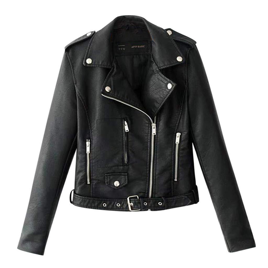 Gleamfut Women's Leather Short Jacket Turn-Down Collar Long Sleeve Rivet Motor Zipper Short Tops Coat Black by Gleamfut