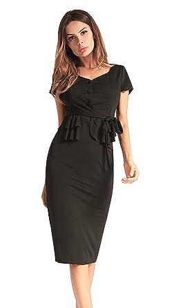 La Vogue Lady Pencil Dress Button Bodycon Mini Work Business Party Dress Black UK8-10