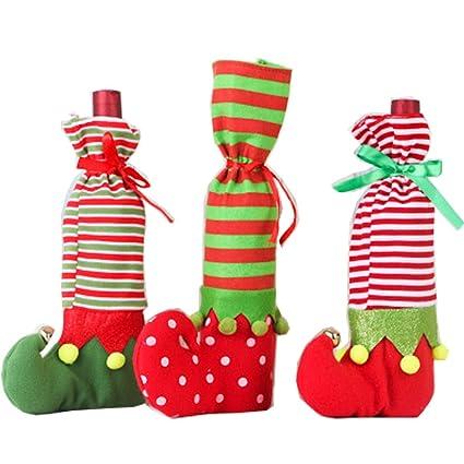 3 pcs bolsa de elfo navideño Candy Papá Noel Candy calcetines Elf para botellas para botella