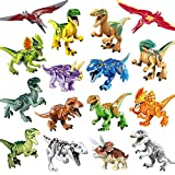 Kitoz 16pcs Mini Jurassic Dinosaurs Minifigure Miniature Building Block Toy Figure Playset T-Rex Velociraptor