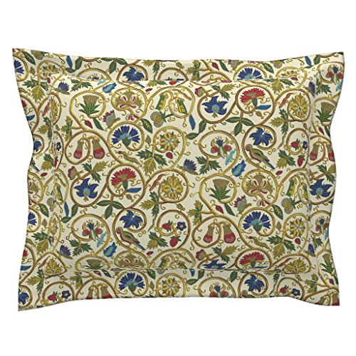 Roostery Bird Standard Flanged Pillow Sham Embroidered Elizabethan Jacket Goldwork Imitation by Bonnie Phantasm Natural Cotton Sateen Made