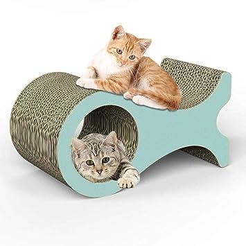 Lucky Family Tablero rascador para Gatos, Tablero rascador de Papel Corrugado Tablero rascador para Gatos con Catnip Lounge Tablero Rayado Juguete para ...