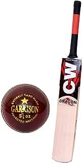 CW English Willow Batte de Cricket à Manche Court 7 + Grains légers et résistants 3-4 pièces Canne Singapour (1 Boule en Cuir)
