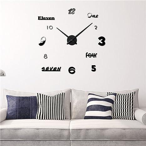 LLHBE Moderno Mudo DIY Grande Reloj De Pared 3D Pegatinas Numerales Reloj De Pared Casa Oficina